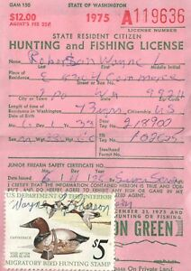 1975 USA Canard Tampon #RW42 + Upland Washington Chasse & Pêcher Licence