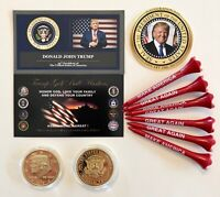 Trump Golf Ball Marker & Tee Set...2016 Presidential Tribute Coin.. + 1 Decal