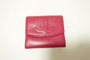 Authentic CHANEL Caviar Leather  CC Coin Purse Wallet  #9927