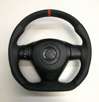 Steering Wheel Mazda RX8  NEW LEATHER AND ALCANTARA ! FLAT BOTTOM ! SPORT STYLE