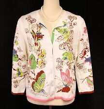 Cabi Off White Multi Colored Floral Cotton Sweater Cardigan - XL L Butterflies