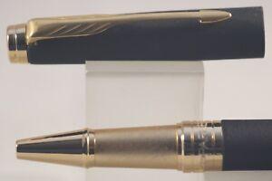 New Parker Aster Matt Black Rollerball Pen with Gold Trim & Case