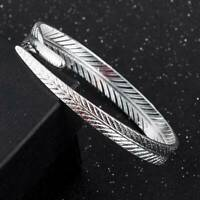Men Women Ethnic Open Jewelry 925 Tibetan Silver Cuff Bangle Bracelet Jewelry