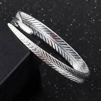 Fashion Women Jewelry 925 Sterling Silver Open Cuff Bracelet Charm Bangle Gift