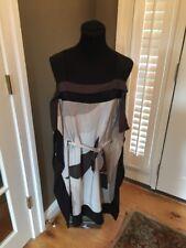 BCBG Maxazria 100% SILK Dress Tunic  DRESS Sleeveless RIPPLE SIDEw/tie Large