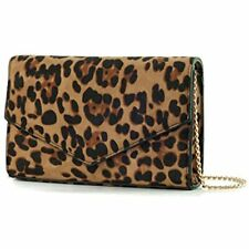 Leopard Print Envelope Evening Clutch Women Chain Shoulder Bag (Brown Print)