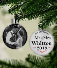 Personalised Our First Christmas - Mr & Mrs - New Married Couple Photo Bauble