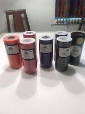 "Tulle Rolls 6"" x 25 yard, Lot Of 7 Rolls, 1-Orange, 2-Red, 1-Purple, 3-Black"