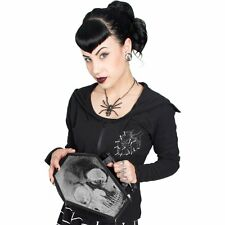 New KREEPSVILLE 666 Ladies Girl Black Anatomical Skull Coffin Bag X Ray Goth