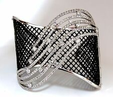 4.30ct Diamonds Bangle Cuff Bracelet 18kt Fish Net Grill Blackened Spring Hinge