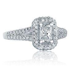 1.06 Carat Radiant Cut Diamond Split Shank Halo Engagement Ring 18K White Gold