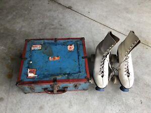 Vintage White Women's Size 10 Pacer Sure Grip Roller Skates w/ Wood Locking Case