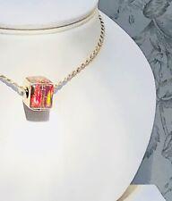 Square OPAL Burning embers fire Opal European Bead Bracelet Pendant Silver 925