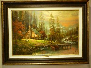 "Thomas Kinkade Best, ""A Peaceful Retreat"" canvas print 18"" X 27""New frame ,"