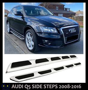 AUDI Q5 08-16 8R BRUSHED STEEL SIDE STEPS SKIRT GUARD BARS BOARDS OEM STYLE NEW