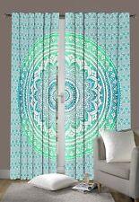 Green Curtain Tapestry Window Curtain Indian Ombre Mandala Door Drape Handmade