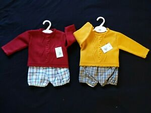BABY BOYS SPANISH KNITTED 2 PIECE SHORTS OUTFIT SUIT SETS  NEWBORN TO 12 MONTHS