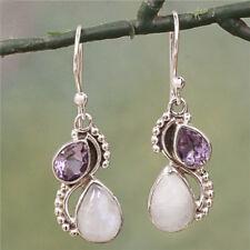925 Silver Amethyst & Rainbow Moonstone 'Two Teardrops' Dangle Earrings Jewelry