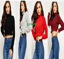 Women stylish Knitted Frill Crop Top Long Sleeve Frill Ladies Top Ruffle Jumper