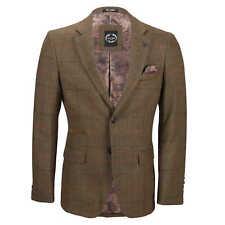 Mens 3 Piece Tan Check Herringbone Suit Blazer Waistcoat Trouser Separately Chest UK 46 EU 56 Blazer-tan Brown