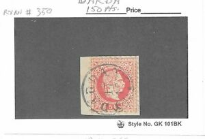 Austria 1867-71 rose 5 kr. used with Hungary. town cancel of DARDA