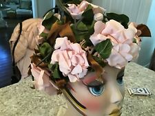 shabby Vtg Antique Rose Millinery Hat Crochet Roses And Buds