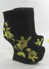 """Black 6.5""""High Wedge Heel LESS 2""""Platform Gold Embroidery Sexy Ankle Boots 5"""