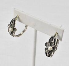 Sterling Silver Pearl Flower Hoop Earrings PZ Israel 925