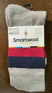 Smartwool Saturnsphere Merino Wool Crew Socks Gray Black Maroon Stripes Size M