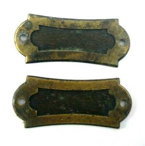 Vintage Furniture Dresser Escutcheons Covers Hardware Set Of 2 Wood Brass