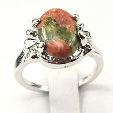Unqiue Fashion New Natural Gemstone 925 Silver Plated Men Women Ring Size 6