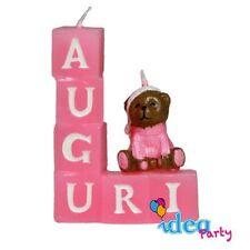 CANDELA auguri orsetto rosa , Decorazione Torta festa compleanno candelina