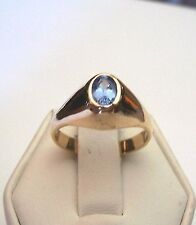 NEW STUNNING BEZEL SET GENUINE TANZANITE DOME RING 14KT SOLID YELLOW GOLD