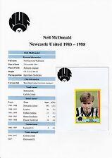 Neil McDonald Newcastle Utd 1983-1988 orig Signée Figurine PANINI vignette (utilisé)