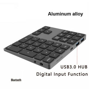 Bluetooth Wireless Numeric Keypad with USB HUB for Windows Android Laptop PC