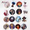 Women Wooden Painting Earring African Girls Image Hook Ear Pendant Drop Earrings