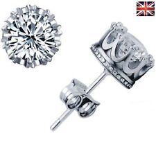 925 Sterling Silver Stud Crown Round Crystal Earrings 6mm CZ Cubic Zirconia
