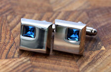 Men's Silver Cufflinks - Blue Crystal