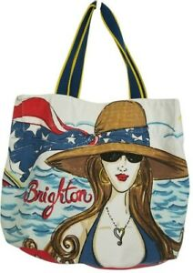 Brighton Chic Ahoy Yacht Canvas Beach Tote Bag **As is- Very Light Stains**