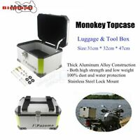 Motorcycle Rear Luggage Top Box 46L Storage Case Aluminum For Honda Suzuki BMW