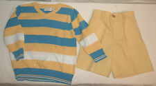 Childrens Place Yellow Blue Striped LS Sweater & Matching Shorts 24Mo NWOTS