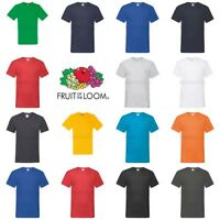 Fruit of the Loom Mens Womens 100% Cotton Plain Blank V-Neck Tee T-Shirt