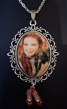 Wizard Oz House Dorothy Toto Ruby Slippers Large Silver Pendant Necklace Judy