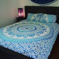 Blue Mandala Quilt Doona Duvet Cover Set Single/Double/Queen/King Size Bedding
