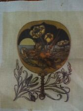 Needlepoint fan or maybe a hand mirror? What could this lovely tapestry be