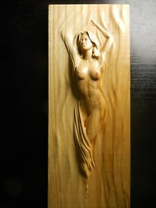 Wood carved picture wall decoration plaque. Nude young woman. Perfect gift