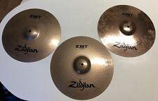 Set Of 3 Zildjian Zbt Drum Cymbals 14� Crash / Ride & Rock Hi Hat Top And Bottom