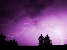 NATURE LANDSCAPE PHOTO PURPLE SKY LIGHTNING STORM POSTER ART PRINT BB1467A