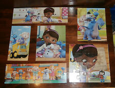 Doc McStuffin 7 Wooden Puzzles With Storage Box Disney Junior Various Sizes