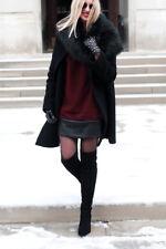 Banana Republic Faux Leather Hem Shift dress,Black Rose SIZE 6T 6 T  #408427 E29